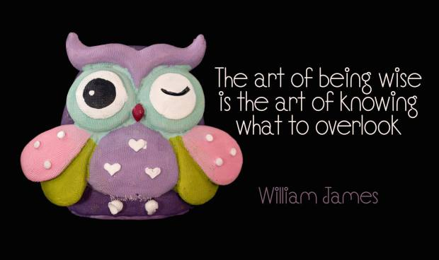 """The art of being wise is the art of knowing what to overlook"" [ William James]"