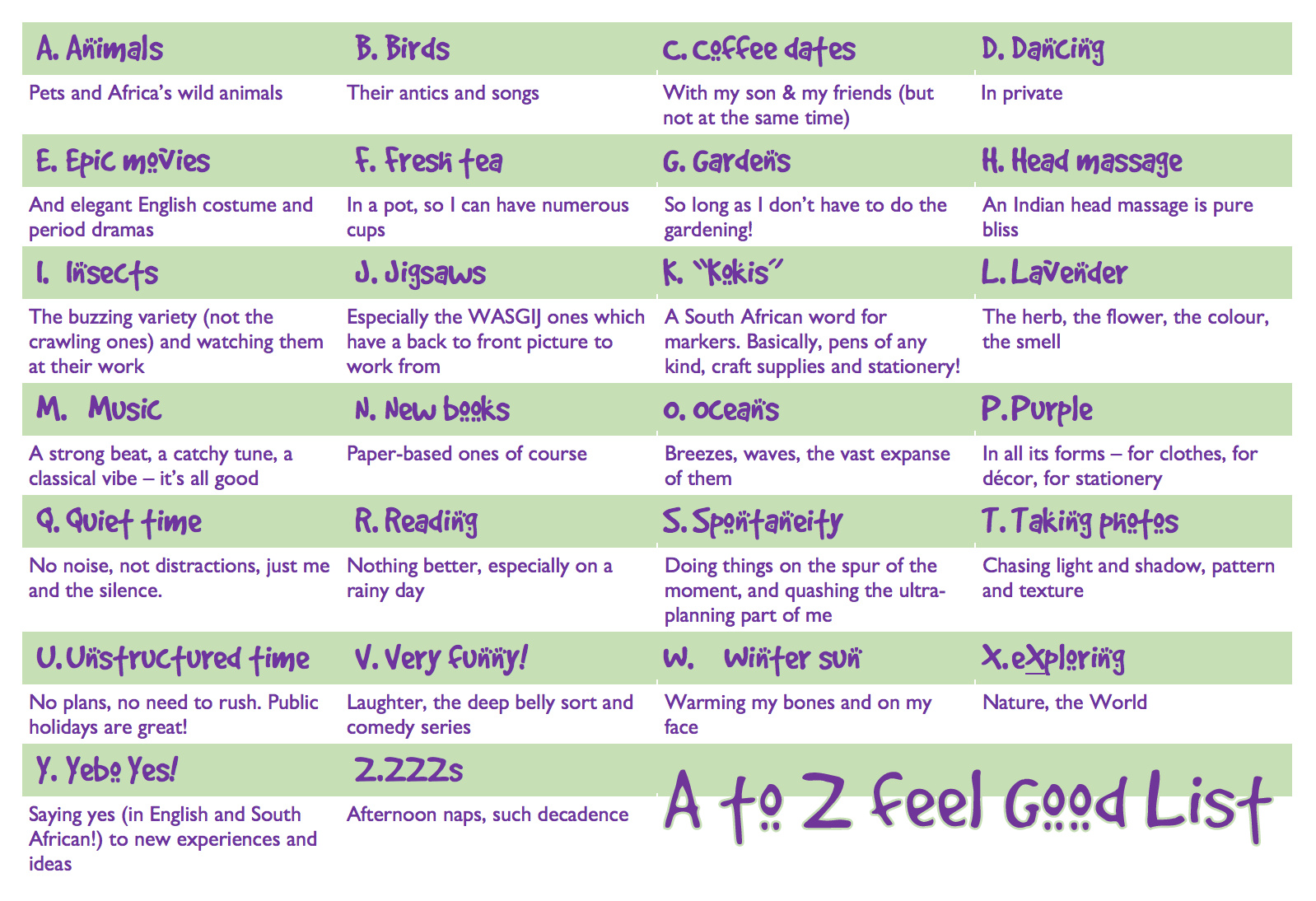 A to Z feel good list © Deborah Ann Stott 2018